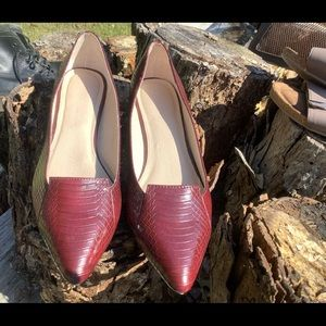 Wine pointed toe flats